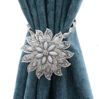 Эластичный Хрустальный подхват для штор, металлические ремни для занавесок, держатель для штор, зажимы в форме цветка, 1 шт.