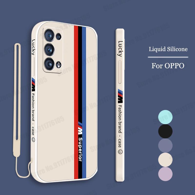 Candy Color Wriststrap Liquid Silicone Case for OPPO Reno 6 5 Pro Plus Find X3 Pro Soft Back Cover F