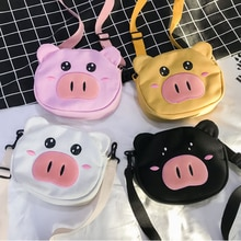 Casual Canvas Children's Mini Crossbody Bags Baby Girls Cute Pig Small Shoulder Bag Boys Kids Gift A