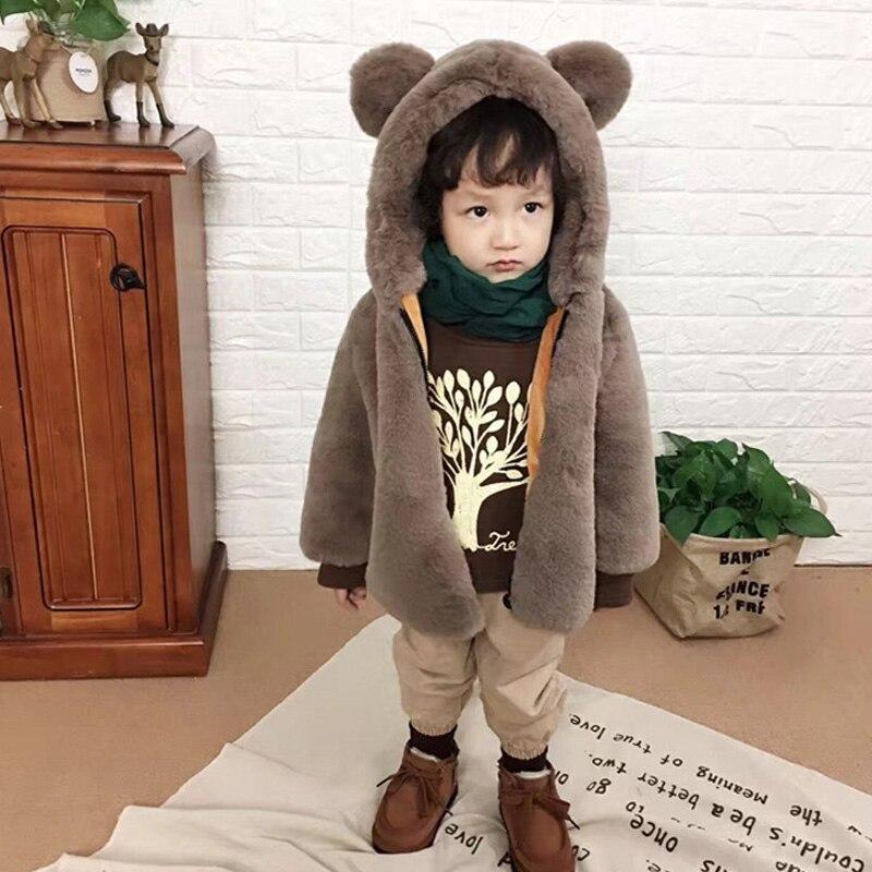 فتاة فو الفراء سترة الكرتون الاطفال الدافئة الفراء معطف الخريف الشتاء طفلة سترة معطف طويل الأكمام أبلى طفلة سترة