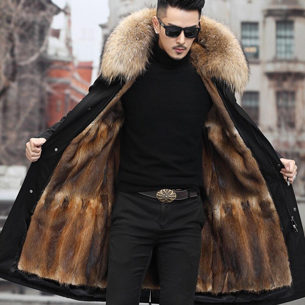 معطف رجالي طويل للشتاء 2021 معطف باركاس 7XL ببطانة من فرو الأرانب الحقيقي طوق الراكون الطبيعي سميك دافئ ملابس خارجية