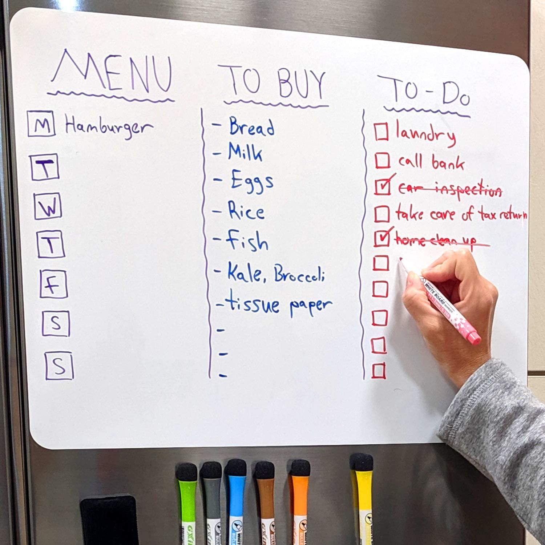 A3 + A4 Размер сухая стереть магнитная доска для холодильника магниты на холодильник белые доски 8 красочных маркеров 1 ластик доска для рисова...
