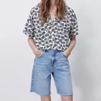 za new summer women short blouse pocket lapel banana printed shirts office lady female top half sleeve single breasted blouses