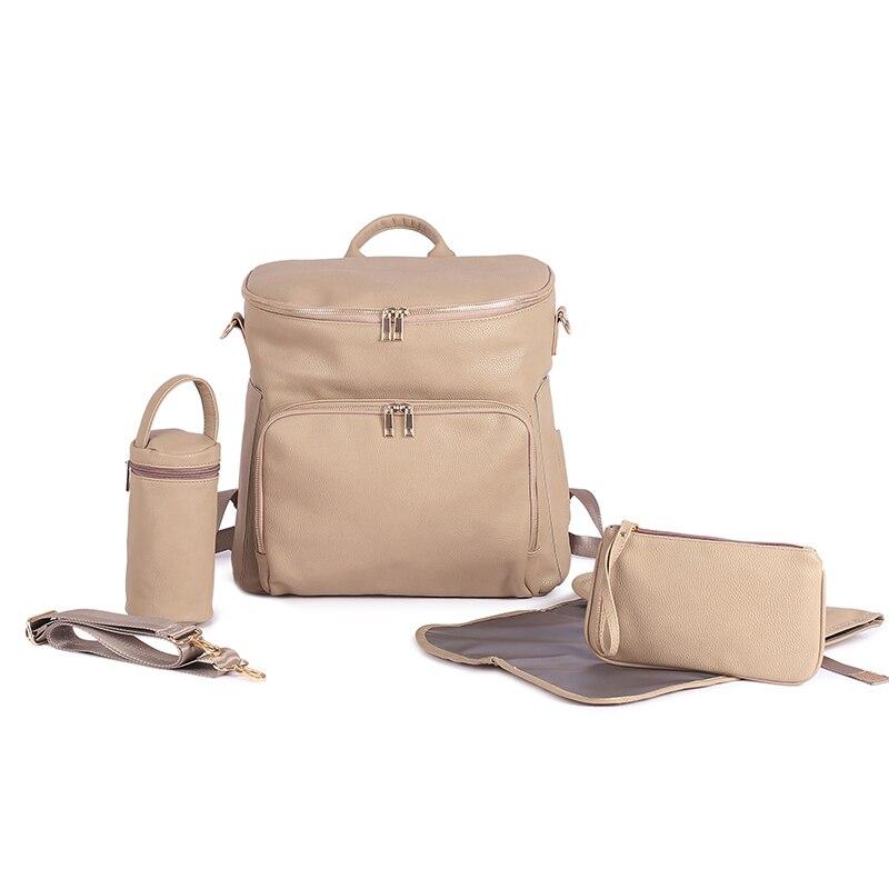 2021 تصميم جديد حقيبة ظهر للحفاضات والجلود النباتية حقائب رضع لأمي أبي حقيبة تغيير مقاوم للماء مع حشية متغيرة أكياس التمريض الحفاض