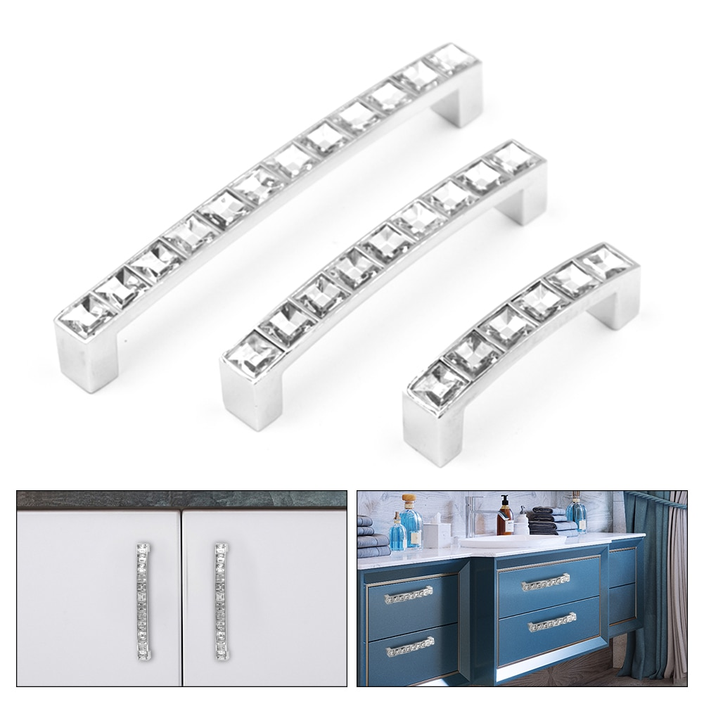 Fashion Crystal Glass Knobs Cabinet Handles Silver Cupboard Pulls Drawer Kitchen Furniture Handle Hardware