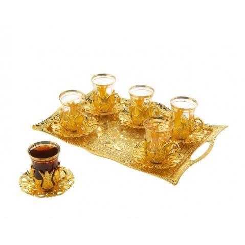 Juego de té dorado turco, juego de té elegante con patrón, seis personas, 19 juegos de té y juego de té dorado, bandeja de presentación rectangular