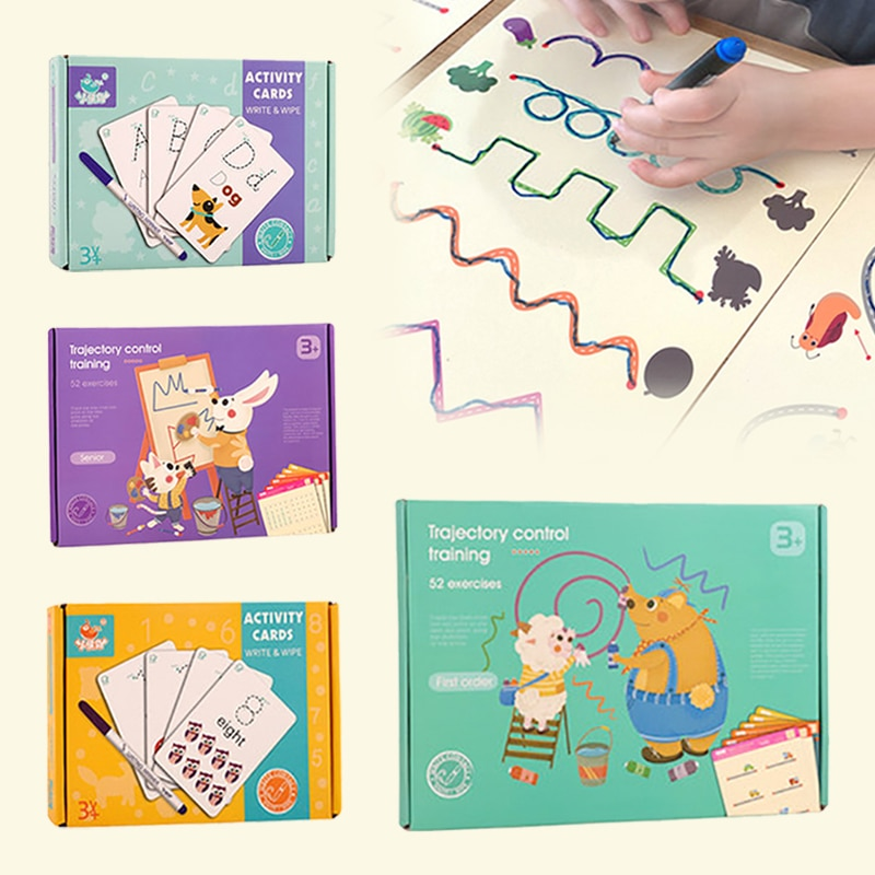 Montessori Children Toys Drawing Tablet Early Educational Math Boy Girl Game Book Kids Child Learning Shape Pen Control Draw Set