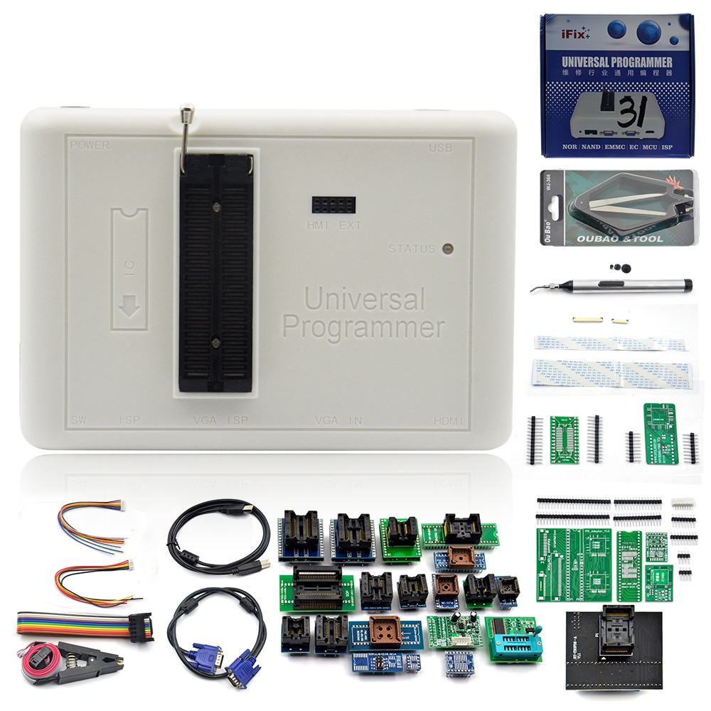 مبرمج UPMELY RT809H EMMC-Nand عالمي للغاية + 35 قطعة + كابل Edid + قلم مص آلة حاسبة برمجة متعددة الوظائف