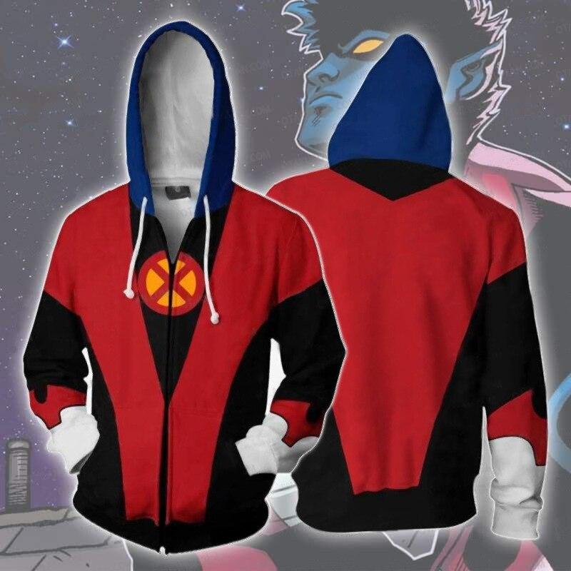 X-Men Dark Phoenix Marvel Girl Cosplay Costume X-Men Nightcrawler Hoodies jacket Cosplay X-Men 3D Printing zipper Sweatshirts