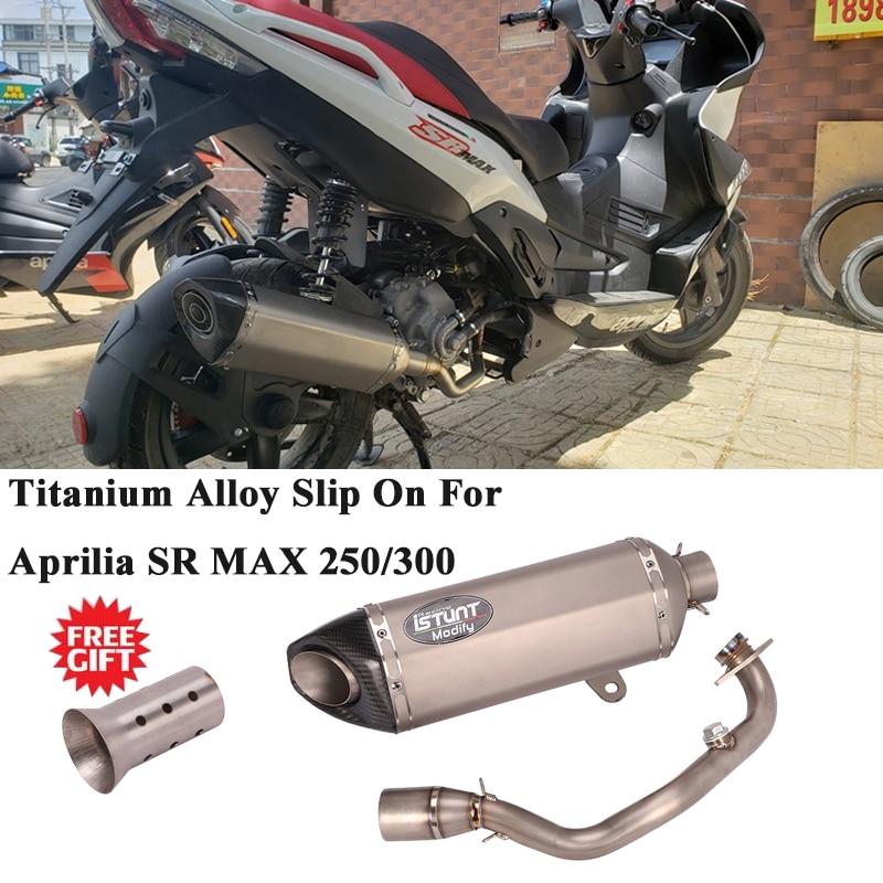 نظام عادم من سبائك التيتانيوم كامل للدراجات النارية ، لـ Aprilia SR MAX 300 250 ، تعديل أنبوب الوصلة الأمامية ، كاتم صوت الكربون DB Killer