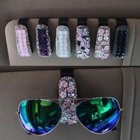 portable car glasses cases crystal rhinestone sun visor glasses sunglasses folder ticket receipt card clip auto accessories