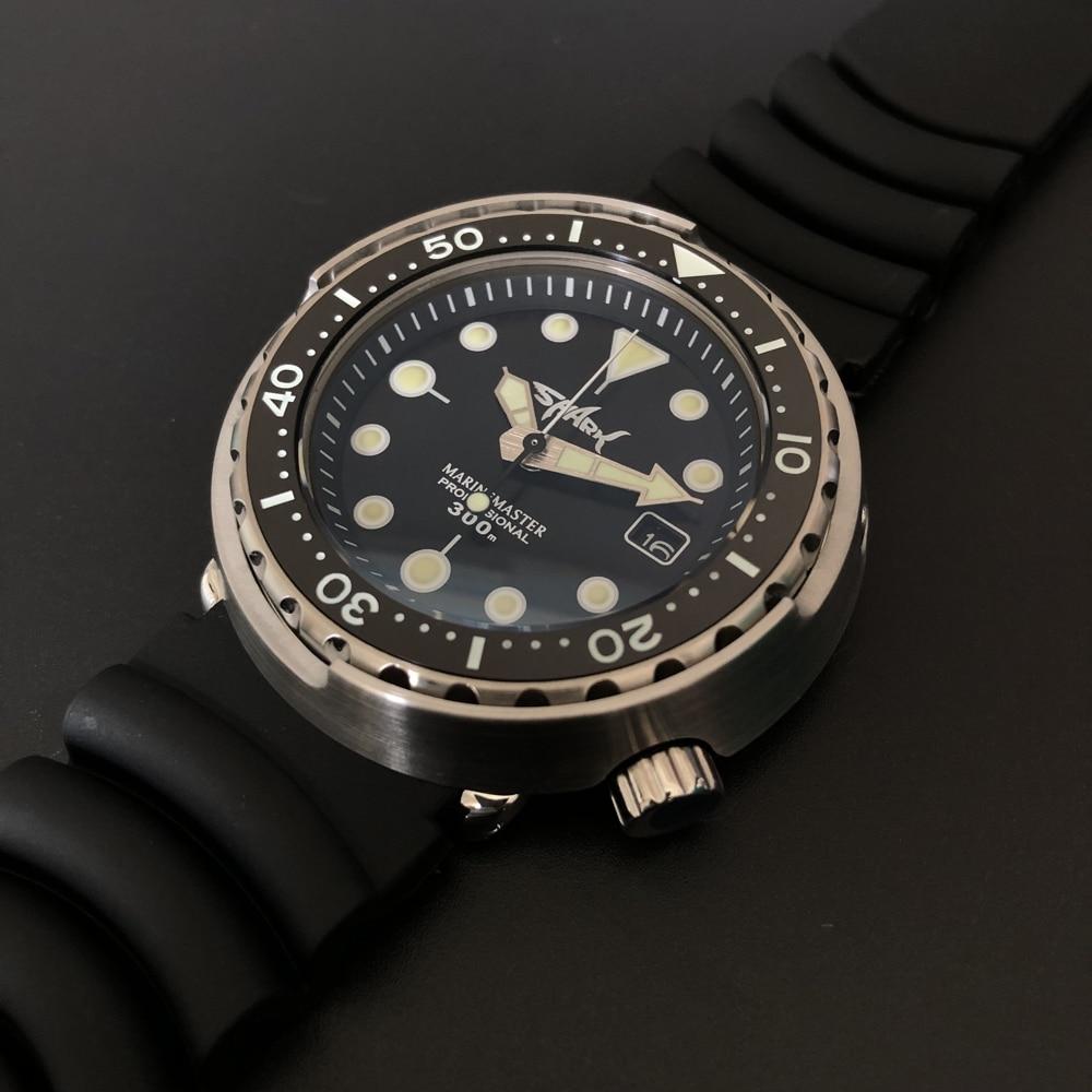STEELDIVE SD1975T Shark Logo Men's Mechanical Watch 300m Waterproof Diver Watch NH35 Super Green Luminous 316L 2021 Luxury Watch