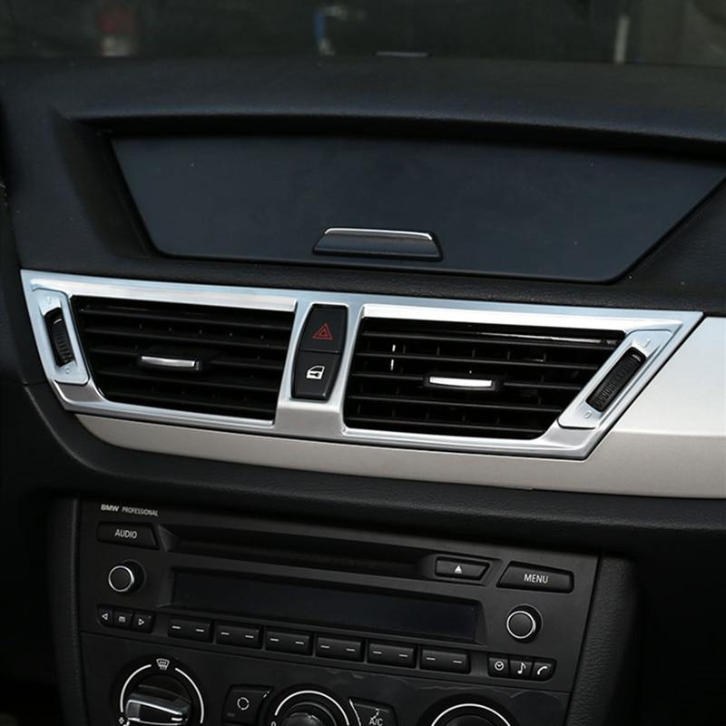 車のスタイリングセンターコンソール空気出口フレーム装飾カバーステッカーbmwのX1 E84 2011-2015 インテリア自動車アクセサリー