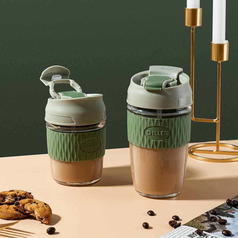 350/500 مللي أكواب القهوة المضادة للتسرق مكتب كوب ماء زجاجي مع القش كبير الشرب المباشر فنجان شاي 12/17 OZ