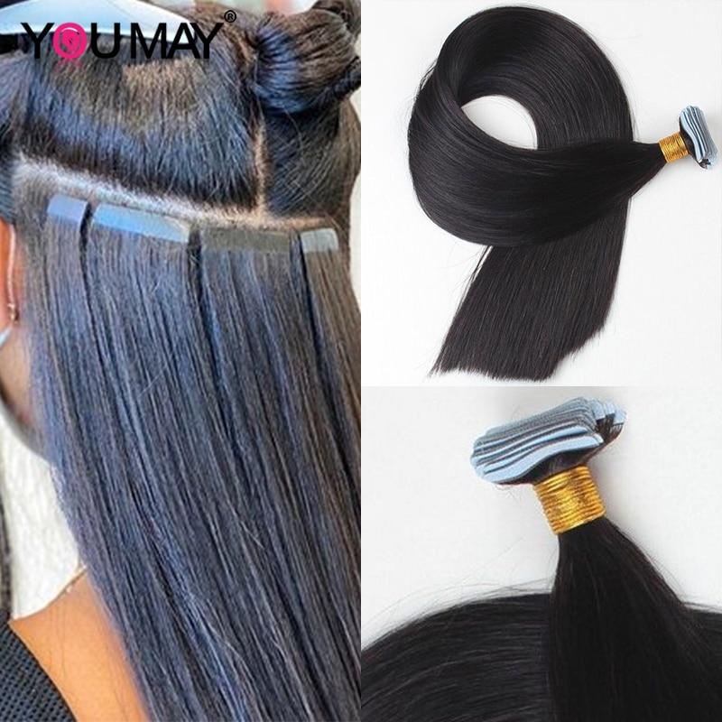 Silky Straight Tape Extensions Human Hair Machine 8-30 Inch Skin Weft Brazilian Virgin Hair For Black Women Bundles Weave YouMay
