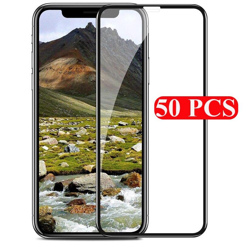 50 قطعة غطاء كامل الزجاج المقسى آيفون 12 11 برو ماكس X XS ماكس XR 6 7 8 Plus SE 2020 حامي الشاشة فيلم واقية الزجاج