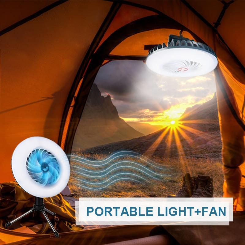 التخييم مروحة التخييم ضوء مصباح محمول مصباح ليد جيب خيمة مروحة قوة البنك وظيفة مصباح طوارئ للتخييم