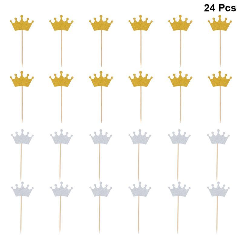 Palitos de bolo em formato de coroa com glitter, 24 peças, paletas de bolo, decoração de cupcake, suprimentos para festa, casamento e noivado (ouro + prata)