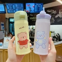 cartoon thermos for coffee portable kettle cute vacuum flask hot water bottle 304 stainless steel thermos jug kids tourist cup