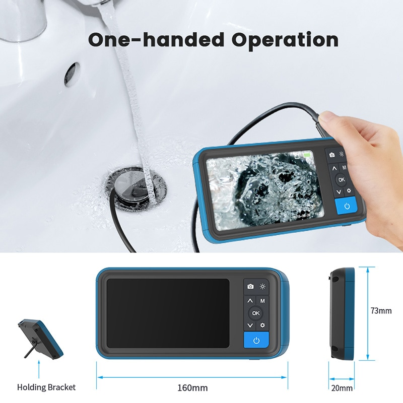 """Dual Lens 1080P Industrial Endoscope 4.5"""" Screen IP67 Snake Camera with 6 LED For Pipeline Drain Sewer Inspection With 32G TF"""