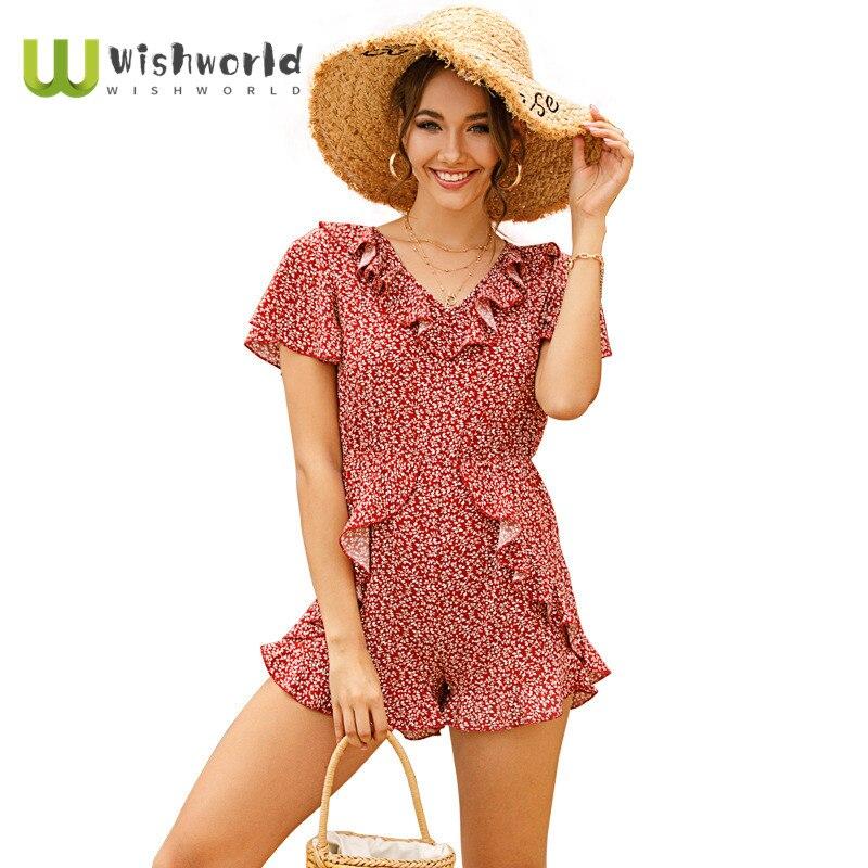 2021 New European and American Popular Printed Ruffle Short Sleeve Female Jumpsuit Fashion Women Bohemian Leisure Overalls