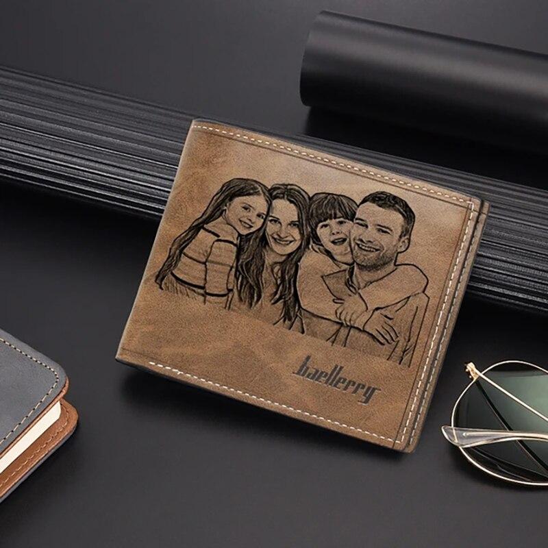 Personalisierte brieftasche hinzufügen ihre fotos frei brieftasche karte halter, männer casual ultra-dünne jugend brieftasche, neue erste schicht weichen brieftasche