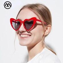 Mode Liefde Hart Zonnebril Vrouwen Cat Eye Vintage Merk Designer Zwart Roze Rood Hart Vorm Zonnebril Voor Vrouwen UV400
