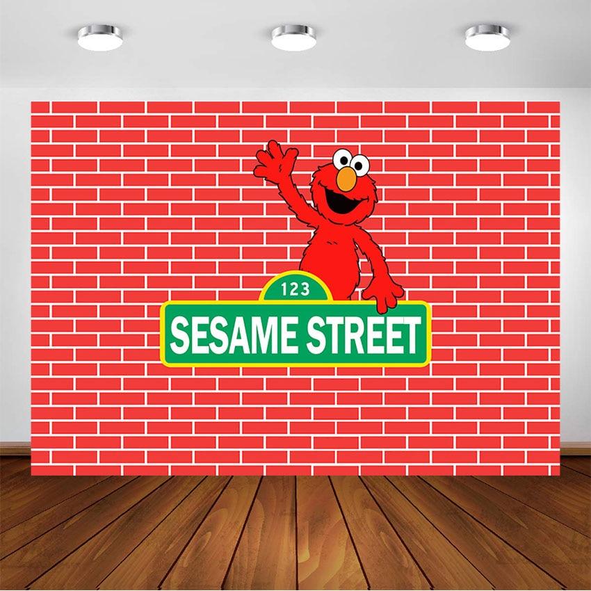 Sesame Street Backdrop Elmo Birthday Party Photography Background Photo Booth Sesame Street Custom Backdrops Decorations