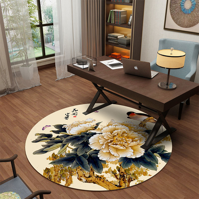 Alfombra redonda de estilo chino de 120x120cm para sala de estar, alfombra redonda Floral, decoración para el hogar, dormitorio, oficina, silla de estudio, alfombra lavable