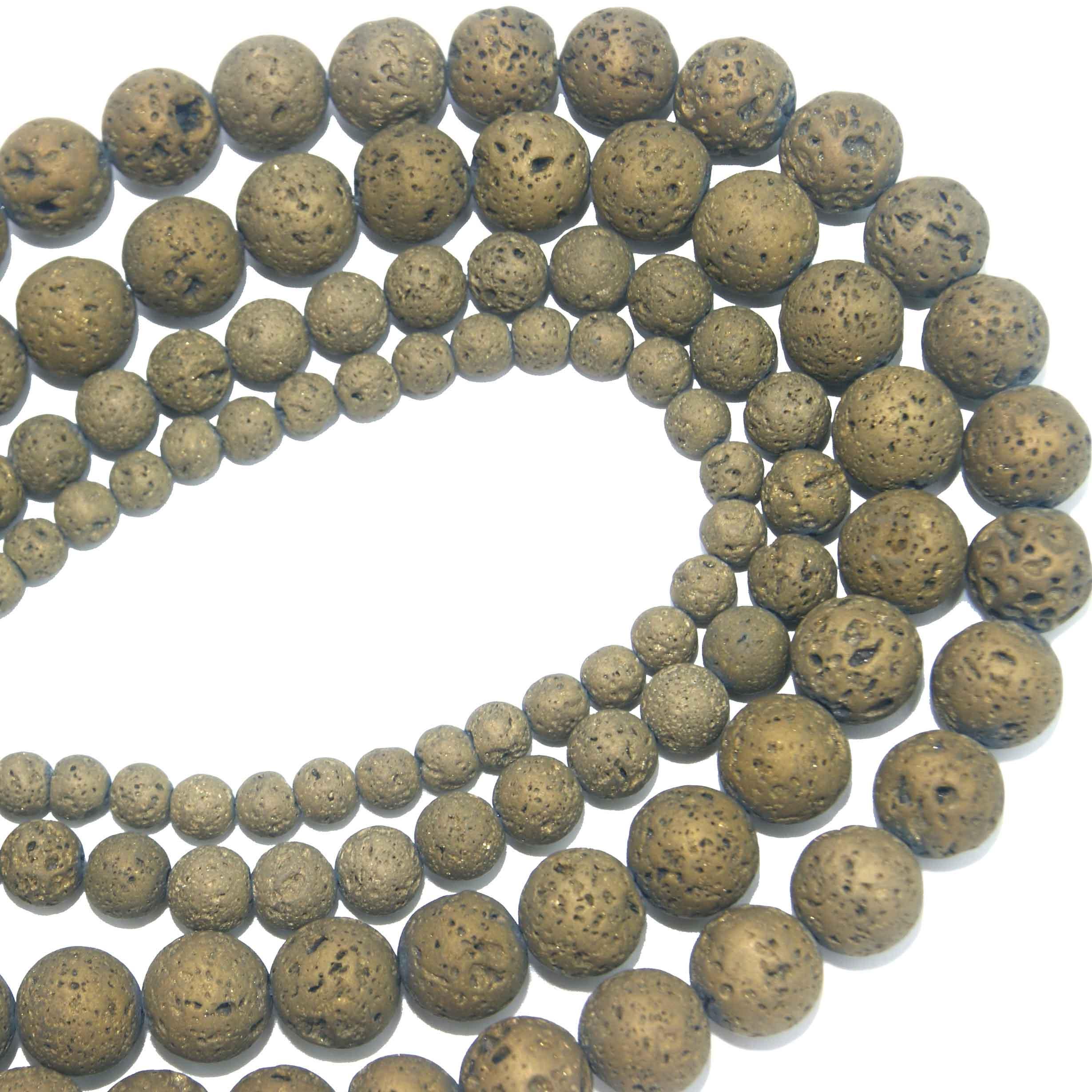Piedra Natural electrochapada oro piedra de Lava volcánica perlas 6 8 MM 10 MM 12 MM elegir tamaño para fabricación de joyería DIY collar de pulsera