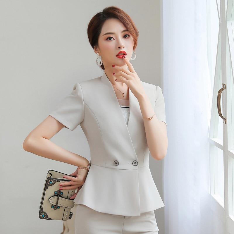 Business Suit Women's Summer Small Suit Thin Coat Short Sleeve Suit Skirt Fashion Suit Hotel Beautician Overalls Office Uniforms