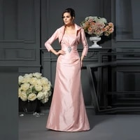 modern elegant pink two pieces mother of the bride dresses with jacket strapless beaded pleating wedding guest dress on sale