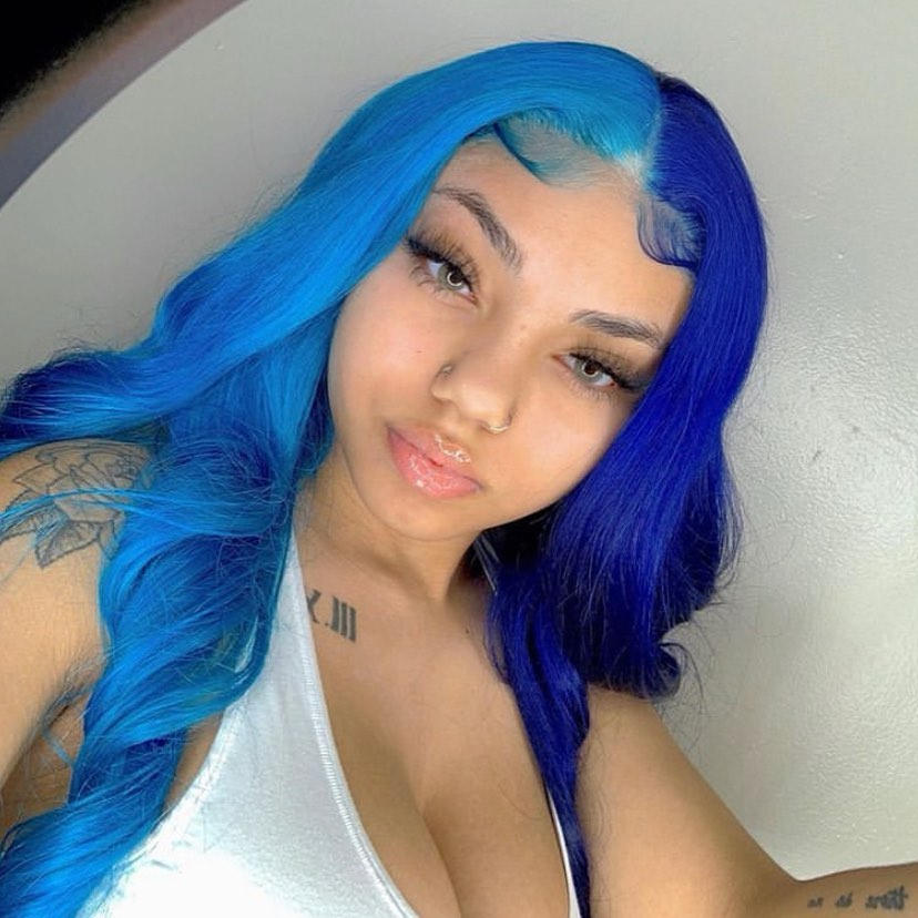 Unique Blue Wavy Brazilian Lace Frontal Wigs Pre Plucked with Natural Hairline 180 Density