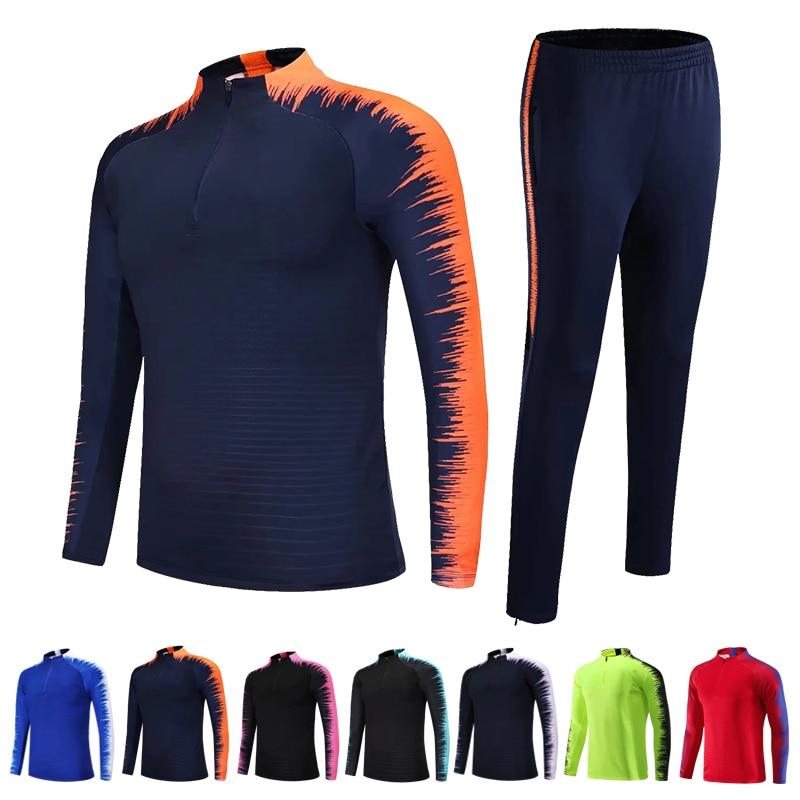 2015 camisetas de futbol survetement soccer jerseys 2020 Kids Adults Soccer Jerseys Sets Survetement Football Kits Men Child Running Jackets Sports Training Tracksuit Uniforms Suit