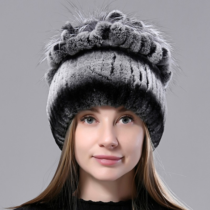 Winter Hats for Women Flower Rex Rabbit Fur Hat Hand Sewn Knitted High Quality Elegant Female Natura