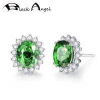 black angel 2020 new 925 silver created emerald green tourmaline gemstone stud earrings for women fashion jewelry wedding gift