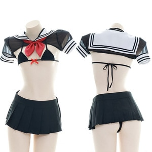Sexy School Girls Cosplay Bikini JK Uniform Student Outfit Set Lingerie See Through Bra & Panties & Smock Set Shimapan Bikini