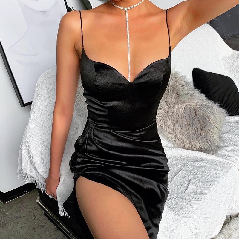 Autumn Women Spaghetti Strap Dress Wear Ankle Length Vintage New Sexy Split Solid Slim 2020 Lady Sleeveless Sheath