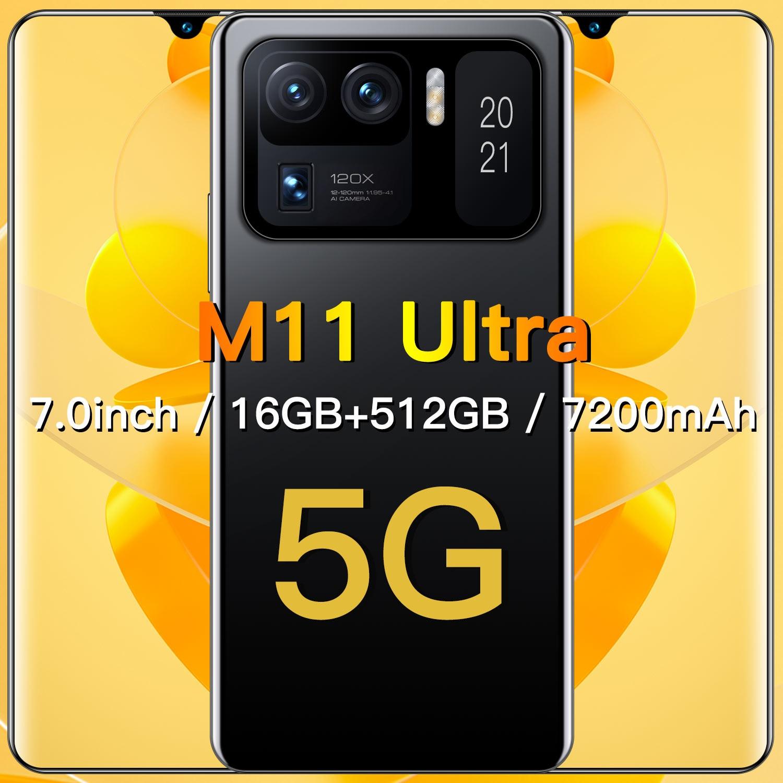Global Version M11 Ultra 7.0 Inch Drop Screen 32+64MP Andriod 11 Smart Phone 5G Network 16+512GB Dual SIM Face Unlock Cellphones
