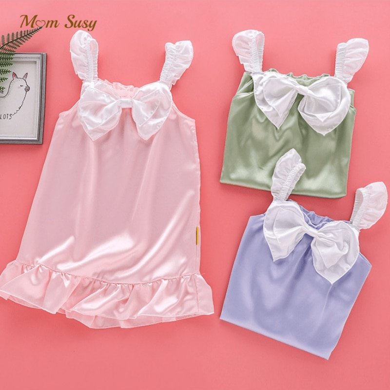 Baby Girl Ice Silk Suspender Sleepwear Summer Toddler Teen Princess Dress Pajamas Bow Baby night robe Home Suit Clothes 3-14Y