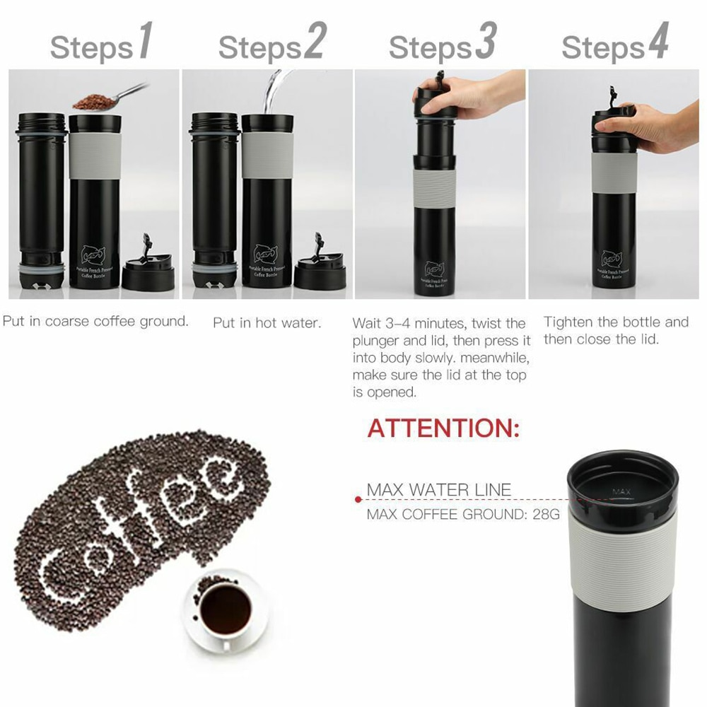 Portable French Press Coffee Maker Vacuum Insulated Travel Mug Premium Stainless Steel Coffee Grinder DIY Coffee enlarge
