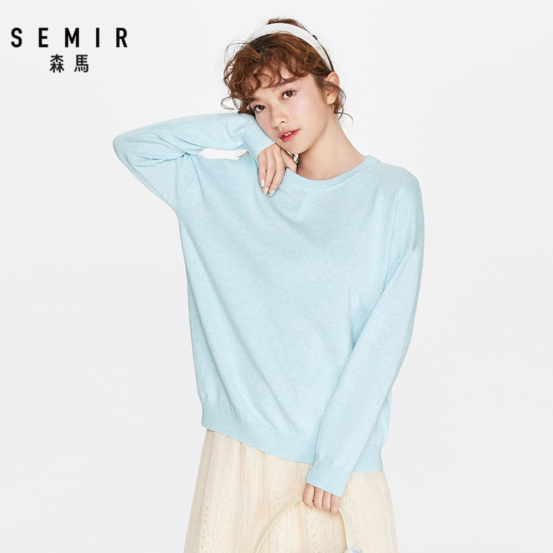 SEMIR Sweater women 2020 loose fitting outerwear women loose knit sweater round neck soft clothes