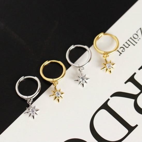 S925 prata cor brincos anis estrela brincos personalidade mini incrustada zircon estrela brincos namorada presente senhoras jóias