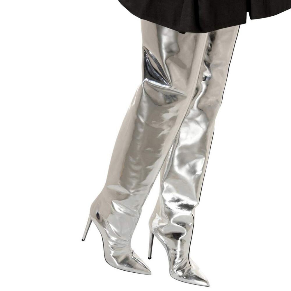 2021 Spring Women's Boot Silver Patent Leather High Heel Over The Knee Boots Sexy Thin Heels Thigh High Boots Shoes Botas Mujer