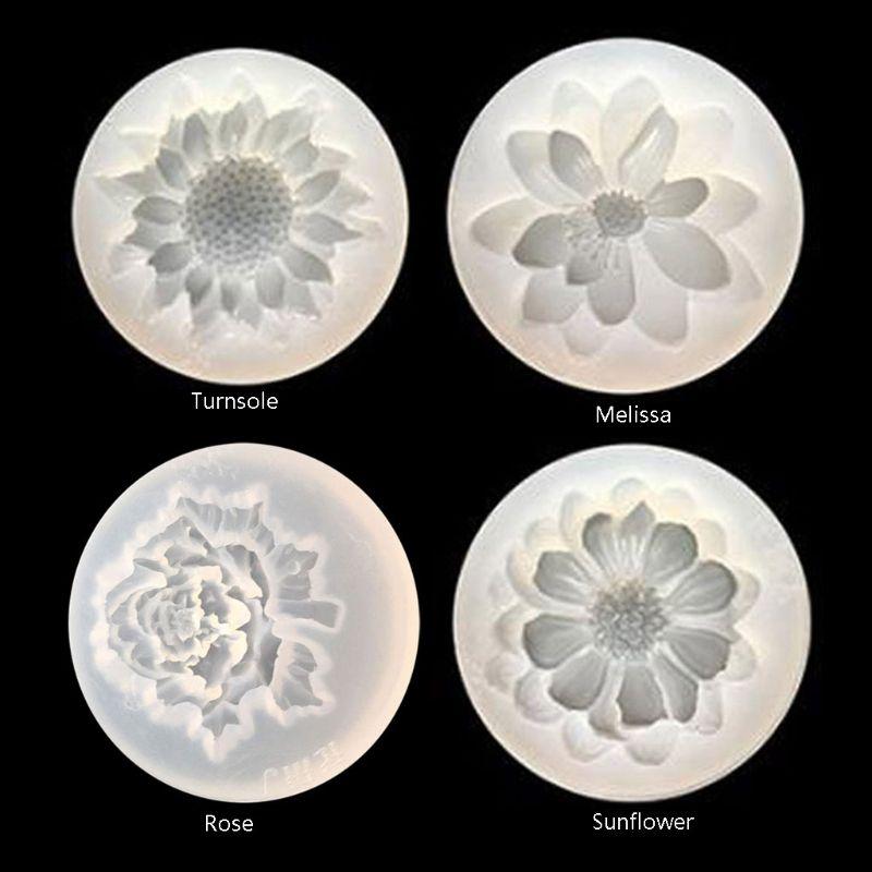 4 pçs flor cola epoxy resina molde kits camélia girassol rosa torniquete silicone molde jóias fazendo encantos diy moldes de sílica artesanato