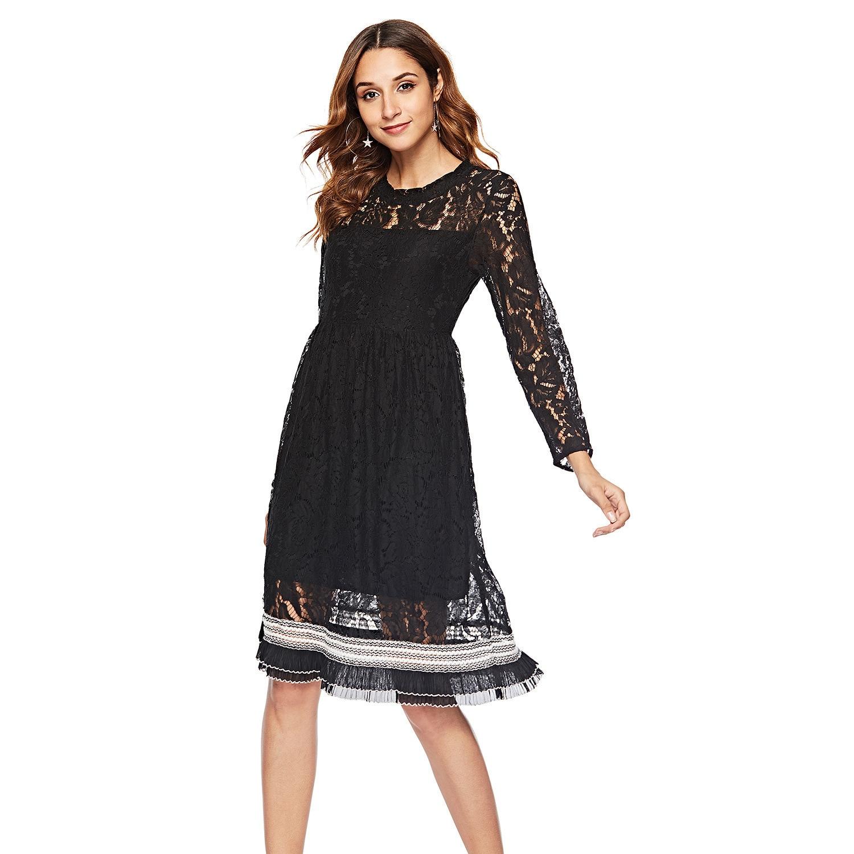 Elegant Homecoming Dresses A-Line O-Neck Full Sleeve Hollow Out Knee-Length Floral Lace Graduation Dresses Vestidos Cortos 2020
