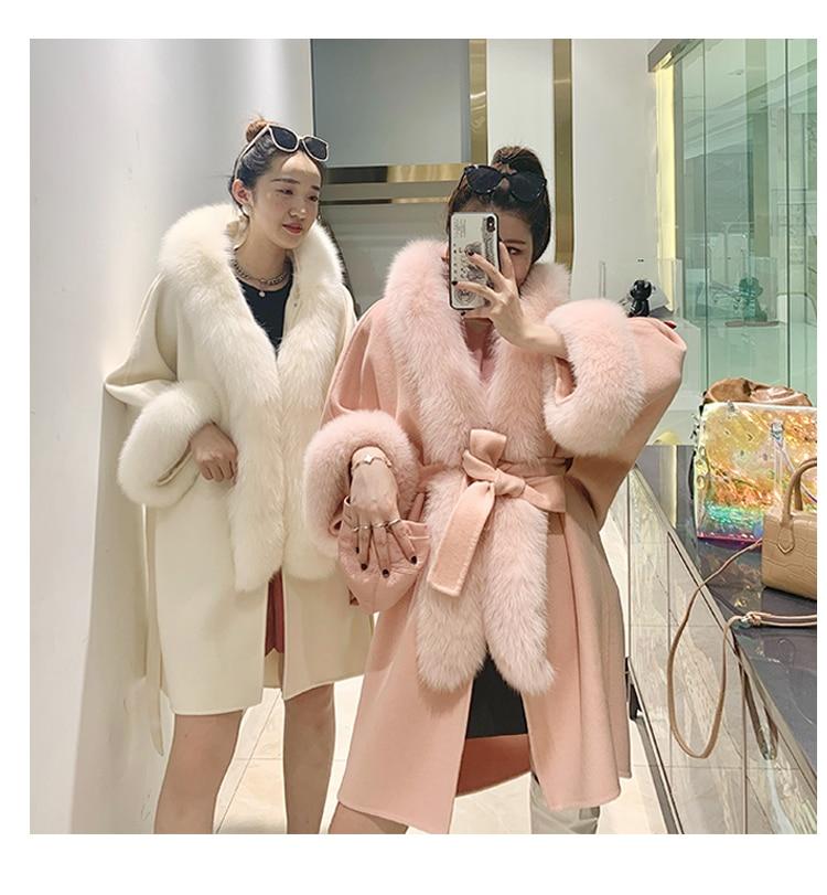 معطف من صوف الكشمير الدافئ للنساء ، ياقة فرو ثعلب حقيقية على الوجهين ، سميك ، عصري ، ملابس شتوية ، 2020