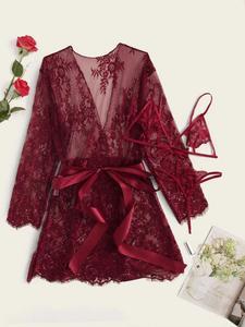 3pack Floral Lace Lingerie Set & Belted Robe