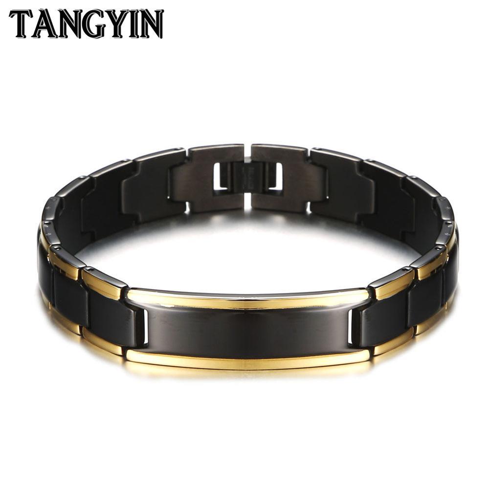 Tangyin cura magnético pulseira masculina moda jóias de aço inoxidável germânio energia pulseiras para mulher e masculino presente