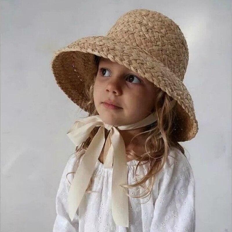 Children Summer Straw Hat Kids RAFFIA Hand Crochet Wide Brim Girls Spring Beach French Style Floppy Sun Hat braided tassel floppy felt hat